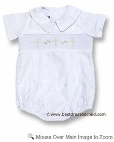Posh Originals Infant Baby Boys Dressy Smocked Christening Cross Romper - WHITE