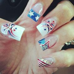 4th of July mani! Patriotic, red white and blue, summer, fireworks