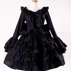 707632308bab8 Black Gothic Lolita Goth Loli Cotton Dress and Detachable Bow Cosplay Custom  Size including Plus Size
