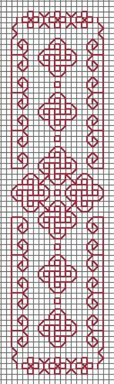 Redwork border or bookmark with Celtic symbols                                                                                                                                                                                 Más
