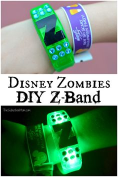 Disney Costume Disney Zombies DIY Z-Band - Easy, no-sew DIY Disney Zombies costumes for Eliza, Zoey and an Addision cheerleader costume. Learn how to make a glowing DIY Z-band too. Zombie Disney, Disney Diy, Diy Zombie Kostüm, Zombie Crafts, Disney Cars, 2 Birthday, Zombie Birthday Parties, Mickey Birthday, Birthday Ideas