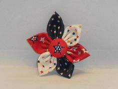 Red, Cream And Navy Patriotic Themed Pin