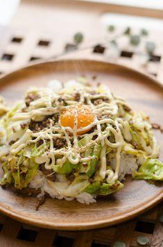 *我が家のテッパン♪ひき肉とキャベツのオイマヨ丼* | 栄養士*misacoro*のおいしいブログ