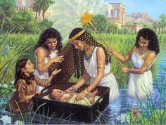Finding baby Moses in the Nile River
