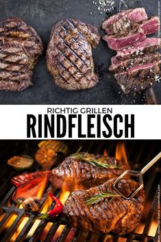 Schwein und Rind grillen - My list of simple and healthy recipes Grilled Steak Recipes, Grilled Pork, Pork Chop Recipes, Meat Recipes, Rinder Steak, How To Grill Steak, Barbecue Recipes, Grilling Recipes, Best Meat