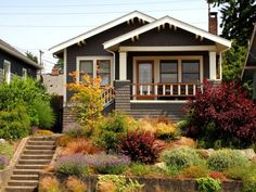 Learn about the key features of the Bungalow - Craftsman home style that typically features a front porch, defined chimney, and more. Craftsman Bungalow Exterior, Bungalow Homes, Craftsman Style Homes, Craftsman Bungalows, Ranch Exterior, Craftsman Cottage, Grey Exterior, Exterior Paint Colors, Exterior House Colors