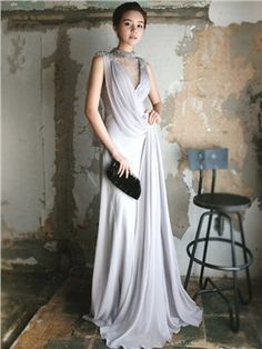 Beading High Neck Pleated A-line Floor Length Evening Dress Evening Dresses  Online c618b7b75878