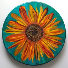 14 inch Sunflower Lazy Susan by ArtstreamDesign on Etsy Pottery Painting Designs, Paint Designs, Tole Painting, Ceramic Painting, Sunflower Themed Kitchen, Lazy Susan, Plates On Wall, Wood Crafts, Painted Furniture