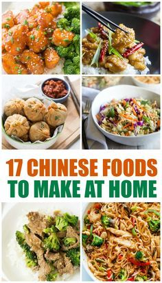 If you are looking to have your favorite take out food at home make sure to check out these must try Chinese food recipes at home. Lunch Recipes, Easy Dinner Recipes, Seafood Recipes, Appetizer Recipes, Chicken Recipes, Easy Meals, Cooking Recipes, Noodle Recipes, Healthy Chinese Recipes
