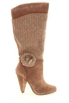 Ruby Shoo shoes brown suede and tweed Bergman knee boots with corsage flower detail