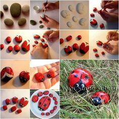 step by step lady bug beach stone painting Stone Crafts, Rock Crafts, Diy And Crafts, Crafts For Kids, Cool Diy Projects, Projects For Kids, Ladybug Rocks, Ladybug Garden, Decorative Pebbles
