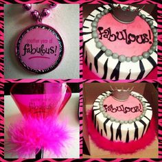 Another year of FaBulOuS! Pink, black, and white zebra birthday cake.