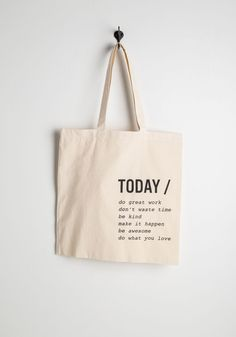 A Way with Verbs Tote. Nothing makes you feel as merry and motivated as this khaki tote! #cream #modcloth
