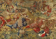 Orley,Bernaert (1492-1542) Seven large tapestries illustrate the Battle of Pavia in 1525,in which Emperor Charles V.defeated French King Francois I. Swiss mercenaries flee with booty.