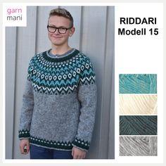 28-03 RIDDARI Modell 15 - Garnmani.no - Spesialist på islandsk garn Knitwear, Knit Crochet, Men Sweater, Graphic Sweatshirt, Pullover, Knitting, Sweatshirts, Sweaters, Knits