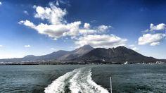 28 Oct. 島原湾から見た雲仙普賢岳。山頂付近は雲に覆われています。