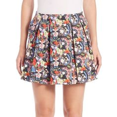 Alice and Olivia Parson Short Lampshade Skirt ($130) ❤ liked on Polyvore featuring skirts, mini skirts, apparel & accessories, island watercolor, long floral skirts, short floral skirt, long skirts, floral skirt and box pleat skirt