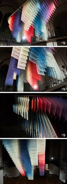 Overlapping Jewel-Toned Fabrics Fill the Nave of a Former Italian Church in a New Installation by Quintessenz