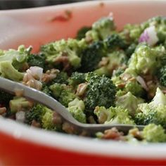 Copycat Honey Baked Ham Bacon Broccoli Bliss Salad. So good!!! I use golden raisins and leave out the almonds.