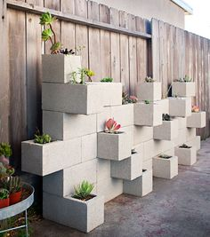 Brilliant! Narrow space = vertical garden. Create modular container gardens with cinder blocks and install a collection of sedums and succulents. #garden