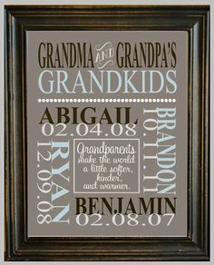 Babies names & birth dates - cute gift idea!