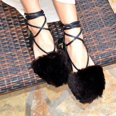 Fanm Mon Handmade Black Shearling Leather Sandals size 5.5-11