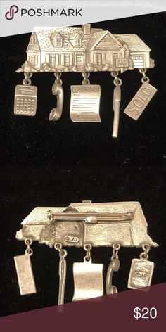 """Pewter Silver Real Estate Contract Charm Brooch Pewter Silver Real Estate For Sale Sign Brooch Pin by JJ Jewelry  Measures about 2 1/4"""" x 3/4"""" Very good condition Super fast shipping with delivery confirmation JJ Jonette Jewelry Brooches"""
