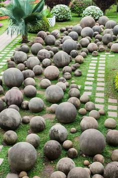 A cool rock garden. Need to make some DIY concrete spheres.