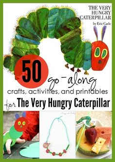 50 fun crafts, activities and printables to go along with The Very Hungry Caterpillar by Eric Carle Preschool Literacy, Literacy Activities, Toddler Preschool, Preschool Activities, Kindergarten, Toddler Crafts, Hungry Caterpillar Activities, Very Hungry Caterpillar, Caterpillar Craft