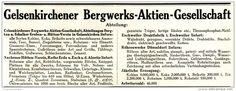 Original-Werbung/ Anzeige 1913 - GELSENKIRCHENER BERGWERKS AG / GELSENKIRCHEN - ca. 180 x 65 mm