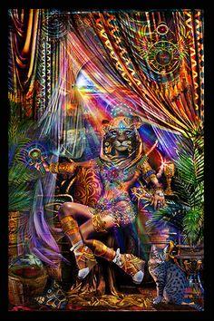 Série égyptienne La déesse de chat Bast Tapisserie - Jumbie Art