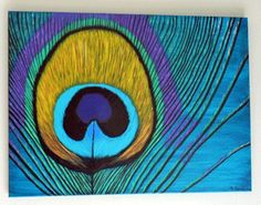 Peacock Feather Acrylic painting on Canvas by InspirationPlace, $110.00: