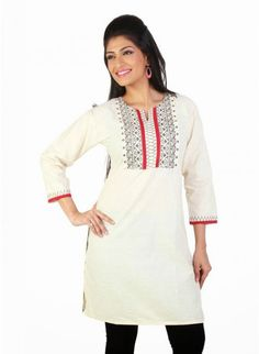Alluring Off White Ready Made #Kurti