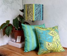 Linen Drum Lamp Shade in Blue & Green Pool by BelfastBayShadeCo