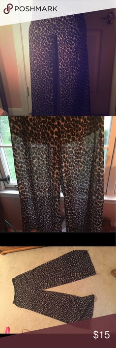 Leopard print sheer wide leg pants Only worn twice. Comfortable, very stylish and flowy. Great for the beach, a nice night on the town, or on vacation. Forever 21 Pants Wide Leg