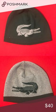LACOSTE LACOSTE REVERSIBLE BEANIE GREEN & GRAY LACOSTE Other