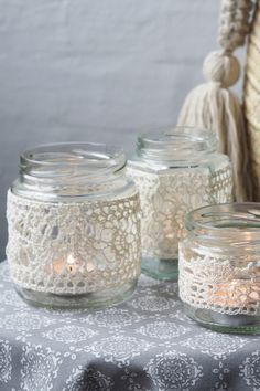 Nordic Yarns and Design since 1928 Diy Crafts For Gifts, Diy Home Crafts, Glass Candle Cover, Crochet Jar Covers, Tea Light Lanterns, Deco Table, Cotton Crochet, Mason Jar Crafts, Diy Candles