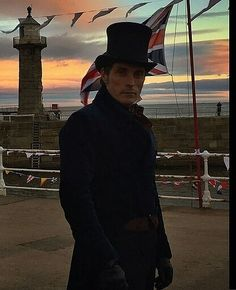 "Rufus Sewell as Lord Melbourne in the BBC series ""Victoria."" taken in Whitby, England."
