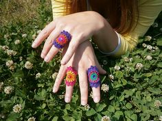 Crochet Ring - Multicolor Mandala With Bead And Sequin