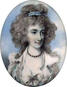 Portrait of a Lady, miniature by George Engleheart, contemporary of Richard Cosway. Watercolor on ivory. (1780-1795)