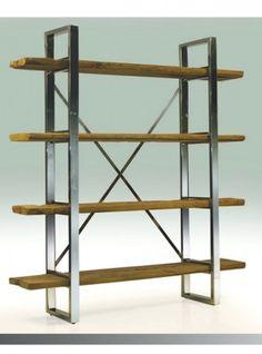 Libreria verticale Bookcase ferro e legno massello design Italiano