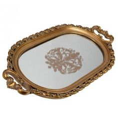 POLYRESIN TRAY_MIRROR IN GOLD COLOR 52X26X4