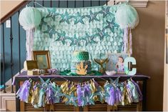 Cake table from Under the Sea Birthday Mermaid Party at Kara's Party Ideas. See the details at karaspartyideas.com!