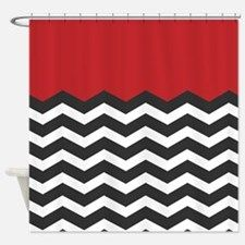 Red Black and white Chevron Shower Curtain for