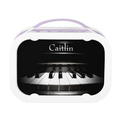 Personalized Black and White Piano Music Lunch Box  #piano #music #backtoschool