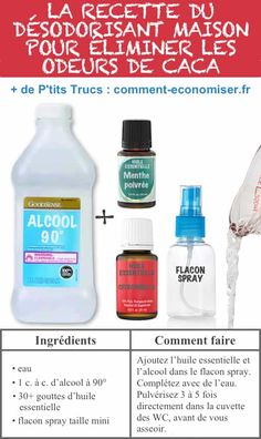 Voici la recette du spray magique fait maison pour éliminer les mauvaises odeurs de caca. House Cleaning Tips, Cleaning Hacks, Architect Design, Clean House, Voici, Life Hacks, Personal Care, Skin Care, Homemade