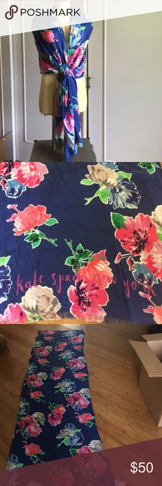 SCARF/WRAP BY KATE SPADE OF NY Hyacinths in full bloom with a royal blue background and many pretty bold colors.  The bottom edge has Kate Spade New York in hot pink writing. kate spade Accessories Scarves & Wraps