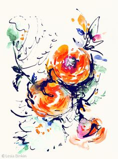 flower watercolor painting 105d   by Lesska