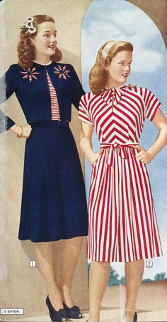 Two lovely dresses from the Eaton's Spring & Summer catalog, 1945. #vintage #1940s #fashion