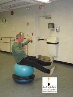 Sit on bosu and stability ball. - Russ www.yogaballbalance.com #focus #core #stability #balance #exercise-on-the-ball